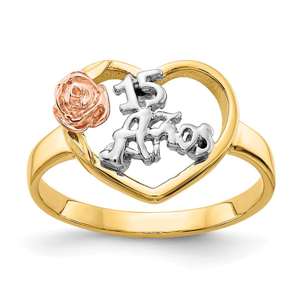 14k Two-tone & Rhodium 15 Anos Ring