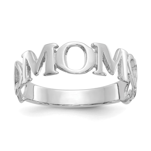 14k White Gold Mom Heart Ring