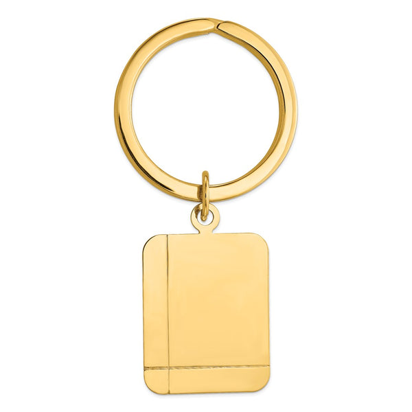 14k Rectangle Disc Key Ring