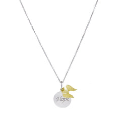 SS/14KT HOPE DISK-14K HEART W/WINGS LOBSTER