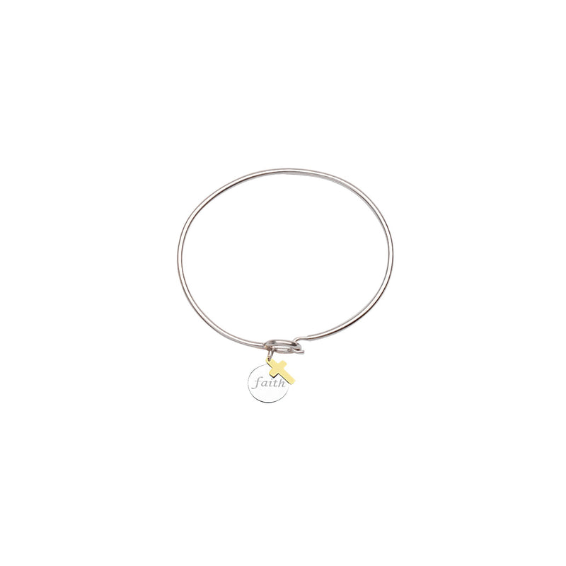 SS/14KT FAITH DISK-14K CROSS COIL BANGLE