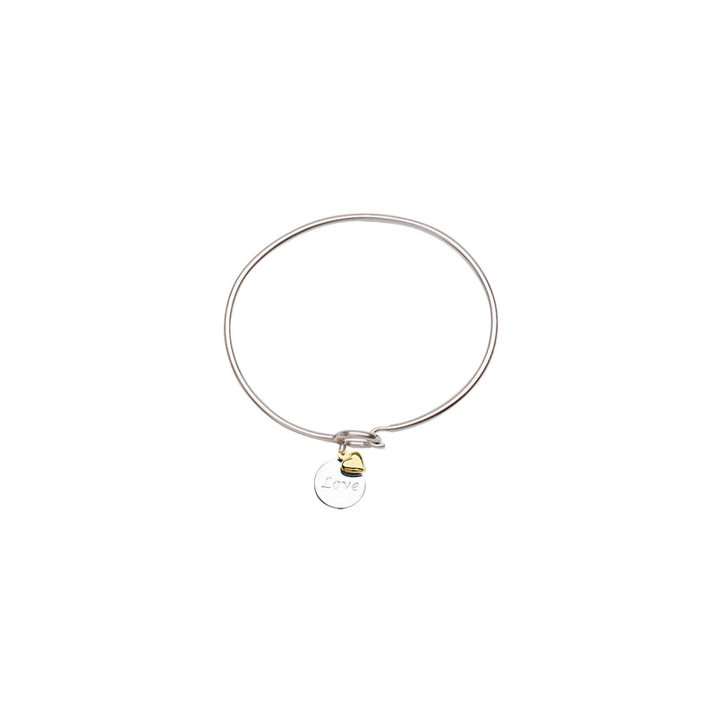 SS/14KT LOVE DISK-14K HEART COIL BANGLE
