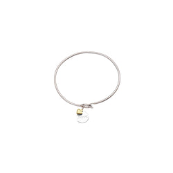 SS/14KT MOM DISK-14K HEARTCOIL BANGLE