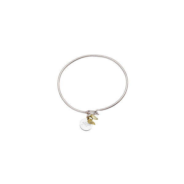 SS/14KT HOPE DISK-14K HEART W/WINGS COIL BANGLE
