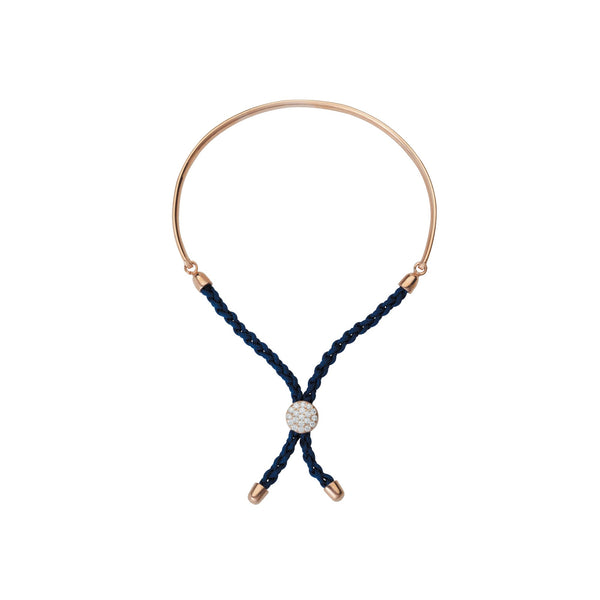 1/2 BAR DARK BLUE BRAIDED MACRAME BRAC