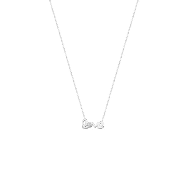 "E2W MINI CURSIVE LOVE W/ CZ ""O"" NECKLACE"