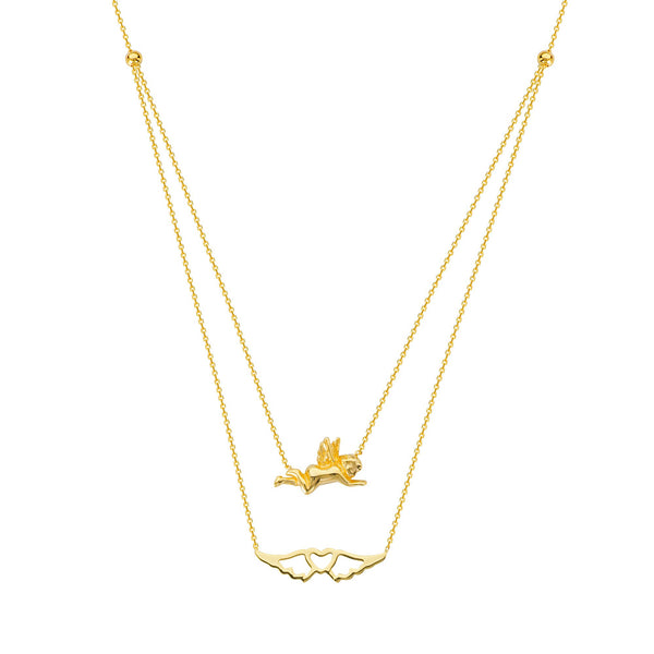 DUO E2W ANGEL AND WINGS ADJ. NECKLACE