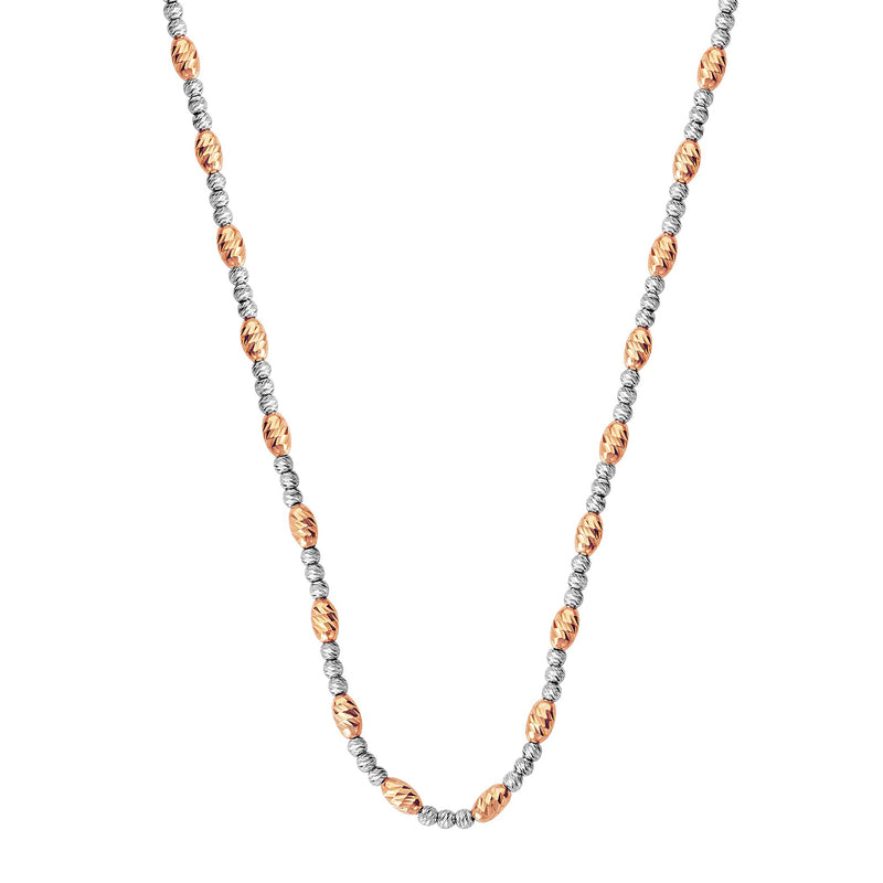 D/C PINK OV.BEAD AND WHTE RND BEAD NECK