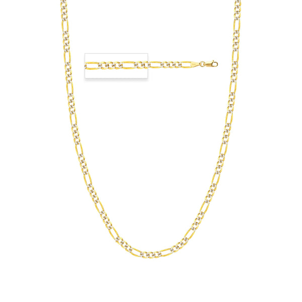 14K GOLD 4.75MM TT PAVE FIGARO CHAIN 120 LOBSTER