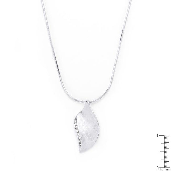 Rhodium Plated Crystal Leaf Necklace