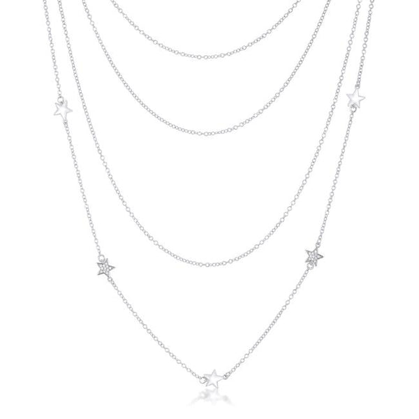 Multi-Chain Rhodium Star Necklace with CZ