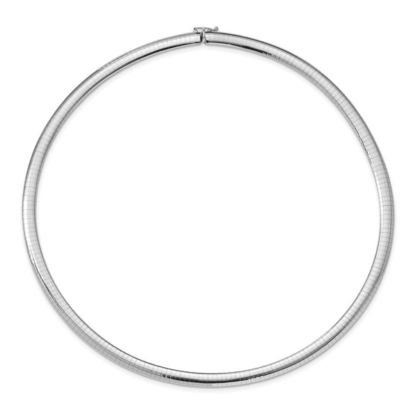 14k White Gold 6mm Domed Omega Necklace