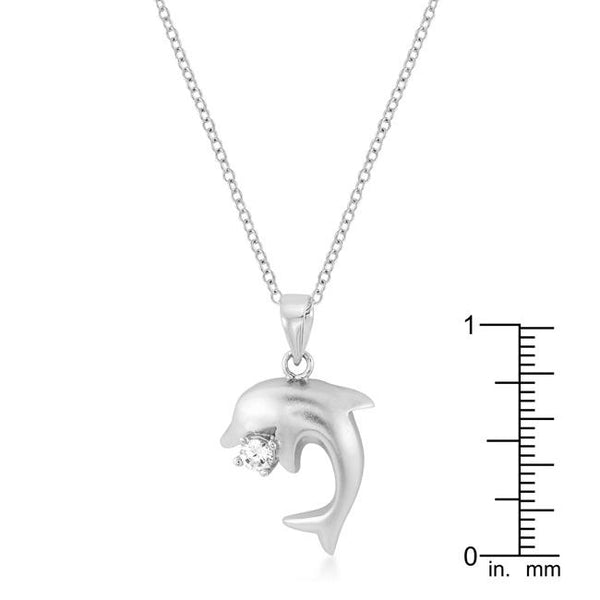 Matte Rhodium Dolphin Pendant - THE LUSTRO HUT