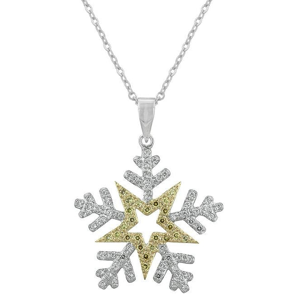 Two-tone Finished Snowflake Pendant - THE LUSTRO HUT