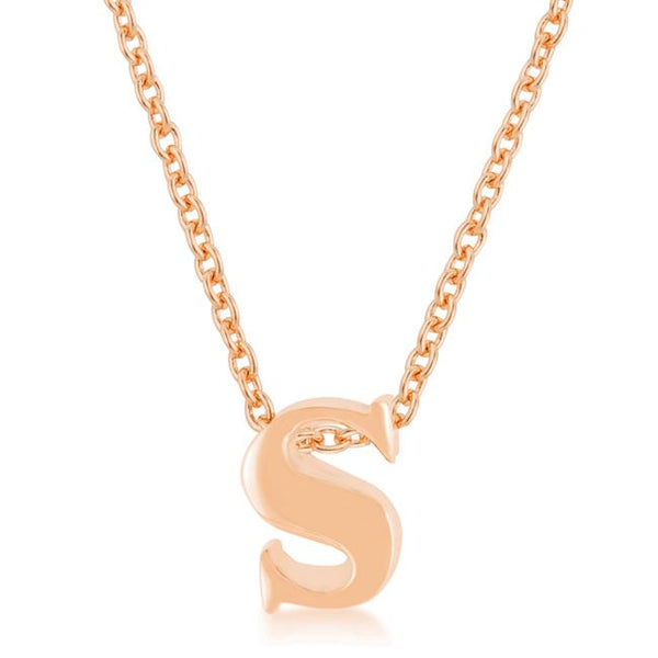 Rose Gold Finish Initial S Pendant
