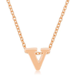 Rose Gold Finish Initial V Pendant