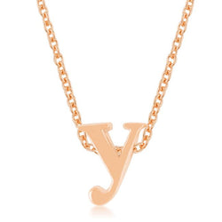 Rose Gold Finish Initial Y Pendant - THE LUSTRO HUT