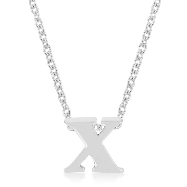 Rhodium Plated Finish Initial X Pendant