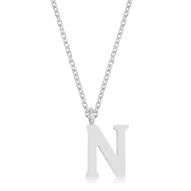 Elaina Rhodium Stainless Steel N Initial Necklace