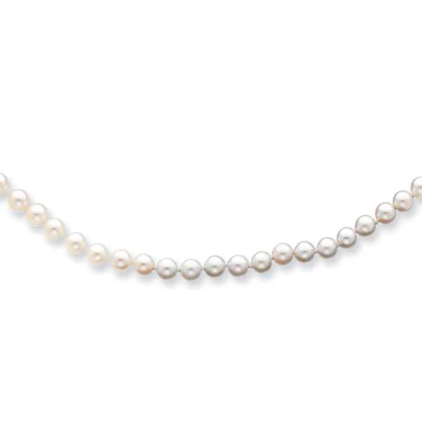14k 5-6mm Round White Saltwater Akoya Cultured Pearl Necklace