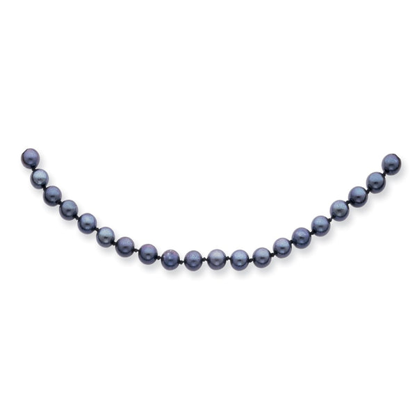 14k White Gold 5-6mm Round Black Saltwater Akoya Cultured Pearl Necklace