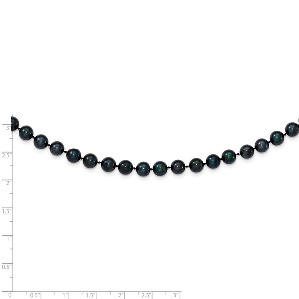 14k White Gold 6-7mm Round Black Saltwater Akoya Cultured Pearl Bracelet