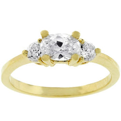 Oval Serenade Triplet Ring in Goldtone - THE LUSTRO HUT