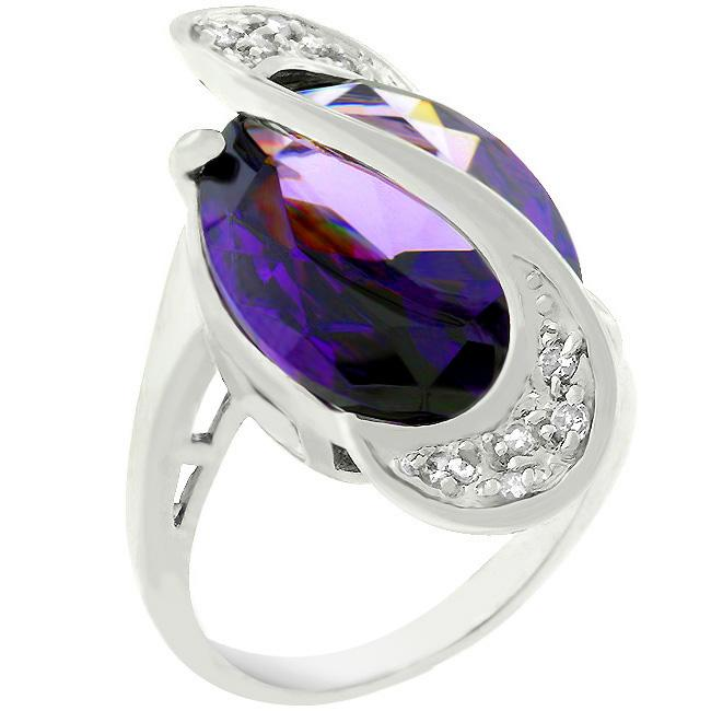 Pave Amethyst Purple Orbit Ring - THE LUSTRO HUT