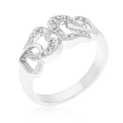 Linked Cubic Zirconia Hearts Ring