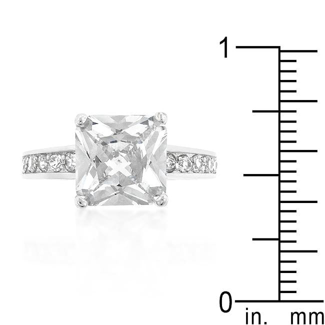 Classic Princess Cut Raised Pave Engagement Ring