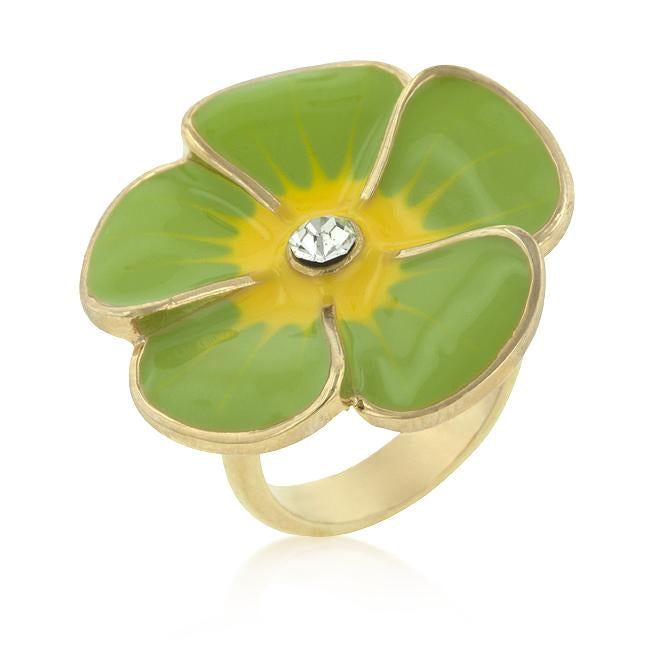 Light Green Enamel Large Floral Ring