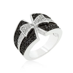 Jet Black and Clear Cubic Zirconia Bow Tie Ring - THE LUSTRO HUT
