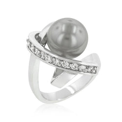 Rhodium Plated Knotted Simulated Pearl Ring