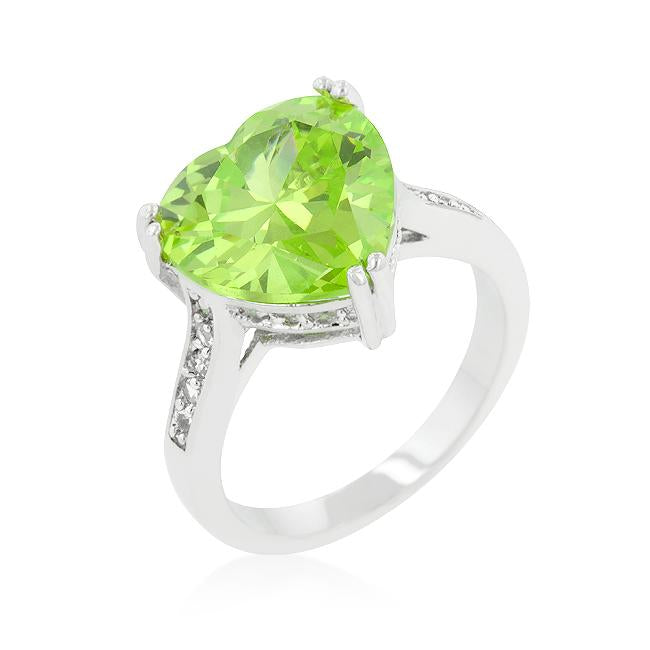 Apple Green Heart Ring - THE LUSTRO HUT