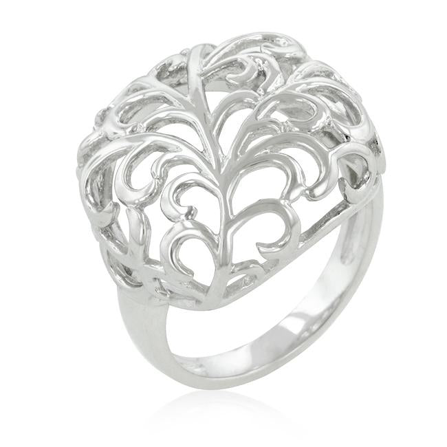 Rhodium Plated Finish Floral Filigree Ring - THE LUSTRO HUT