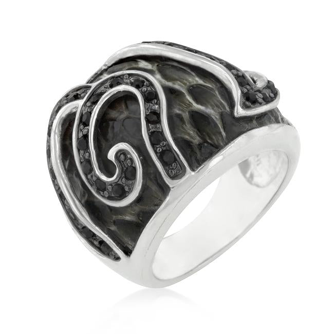 Black Cubic Zirconia Snake Inspired Cocktail Ring - THE LUSTRO HUT