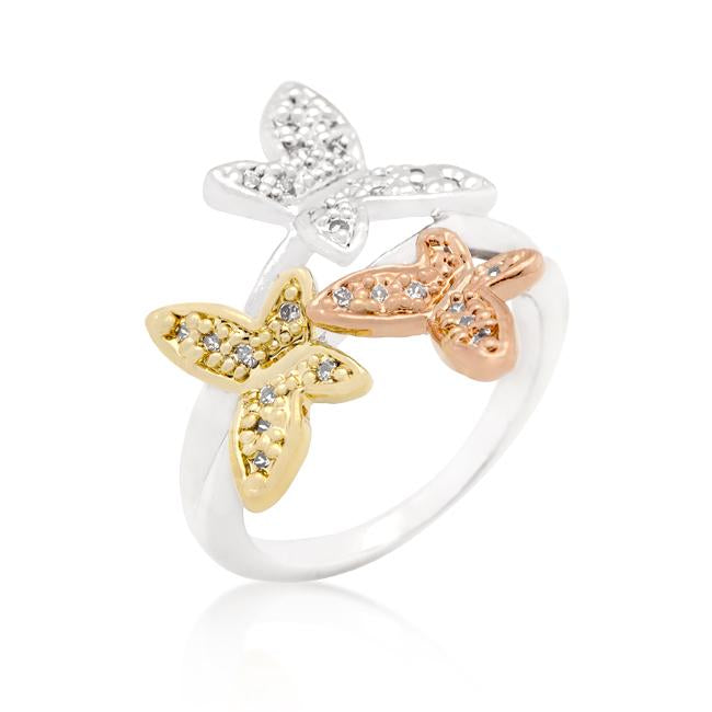 Triple Butterfly Cubic Zirconia Ring