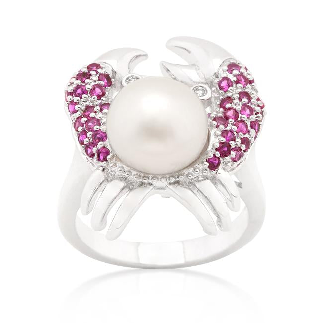 Pearl Crab Cubic Zirconia Ring - THE LUSTRO HUT