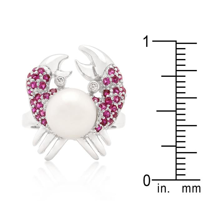 Pearl Crab Cubic Zirconia Ring