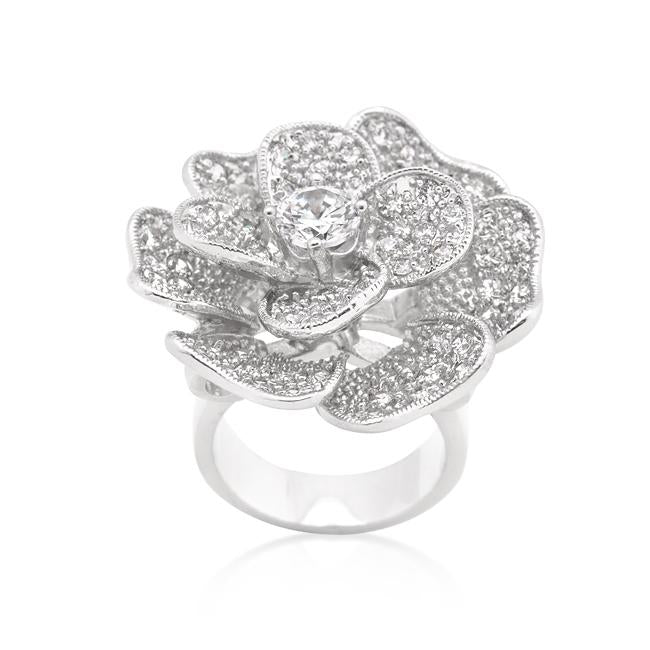 Large Flower Cubic Zirconia Cocktail Ring
