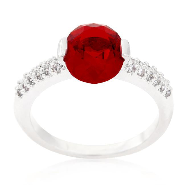 Red Oval Cubic Zirconia Engagement Ring - THE LUSTRO HUT