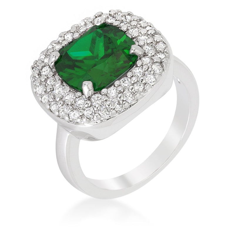 Micropave Green Bridal Cocktail Ring