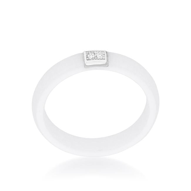 White Ceramic Band Ring With Cubic Zirconia