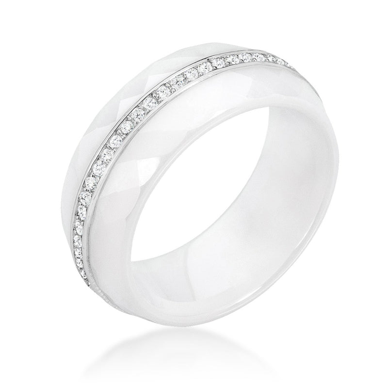 Ceramic Band Ring - White