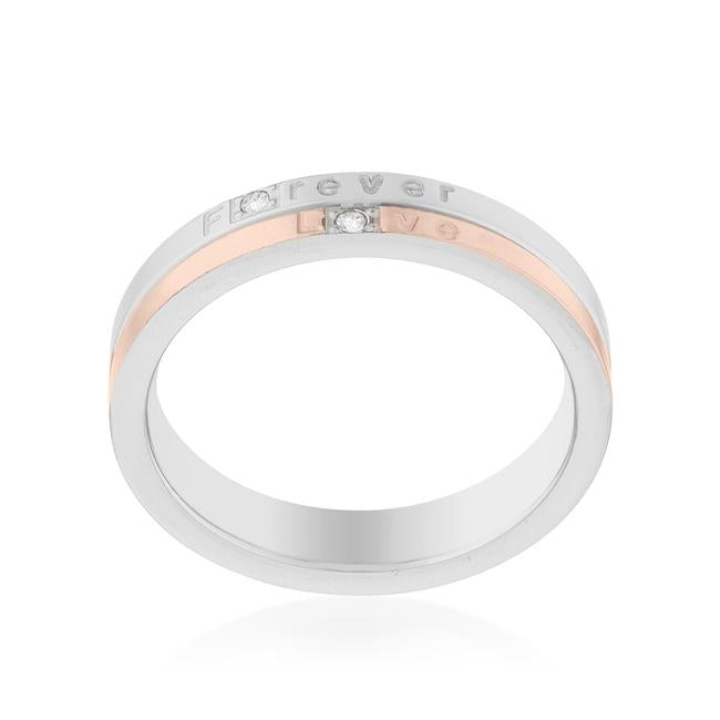 Two Tone Inspiration Band Ring With Cubic Zirconia