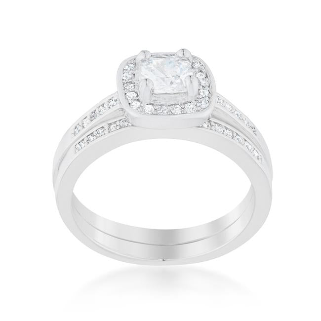 Pave Cushion Wedding Ring Set