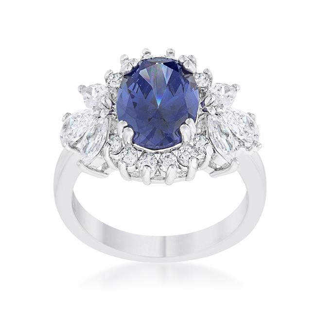 Krizia 4.2ct Tanzanite CZ Rhodium Classic Ring - THE LUSTRO HUT