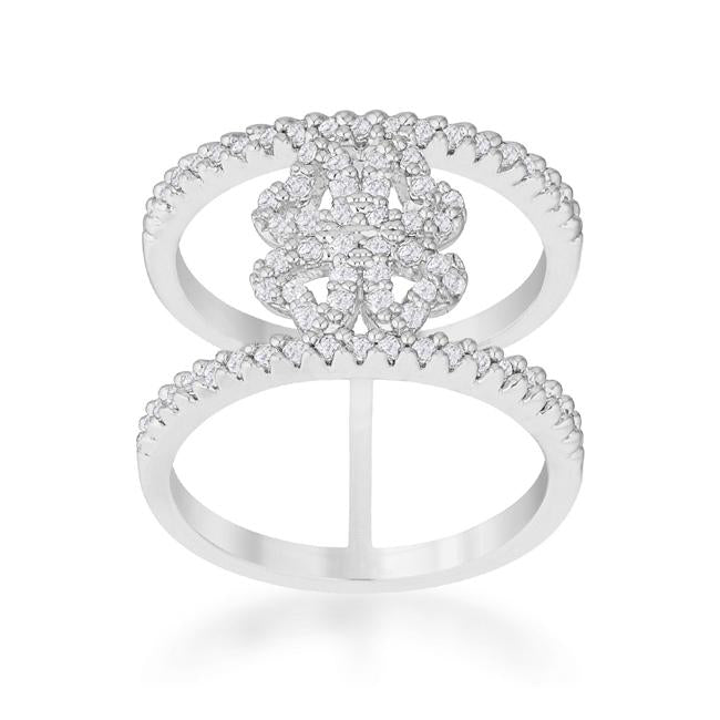 Lauren 0.4ct CZ Rhodium Delicate Clover Wrap Ring