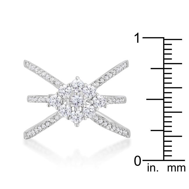 Rhodium Plated Mindy 0.8ct CZ Delicate Triple Wrap Ring