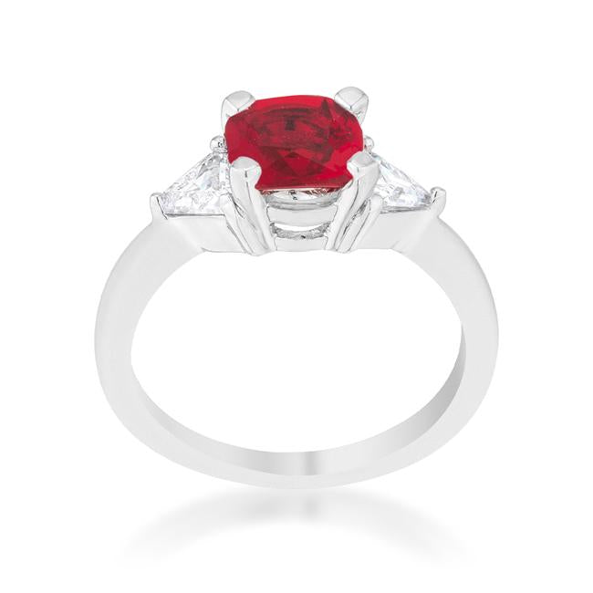Shonda 1.8ct Garnet CZ Rhodium Cushion Classic Statement Ring